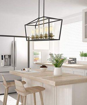 Emliviar Modern 5 Light Kitchen Island Pendant Light Fixture Linear Pendant Lighting Black And Gold Finish With Clear Farmhouse Goals