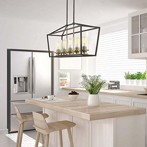 Emliviar Modern 5 Light Kitchen Island Pendant Fixture Linear Lighting Black And Gold Finish With Clear Gl Shade P3033 5lp