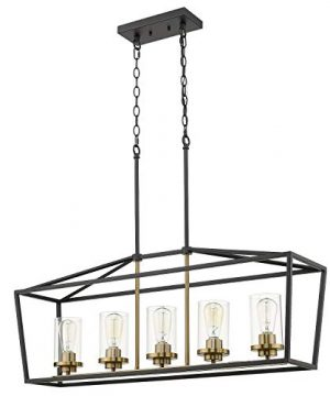 Emliviar Modern 5 Light Kitchen Island Pendant Light Fixture Linear Pendant Lighting Black And Gold Finish With Clear Glass Shade P3033 5LP 0 300x360