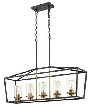 Emliviar Modern 5 Light Kitchen Island Pendant Light Fixture Linear Pendant Lighting Black And Gold Finish With Clear Glass Shade P3033 5LP 0 300x360