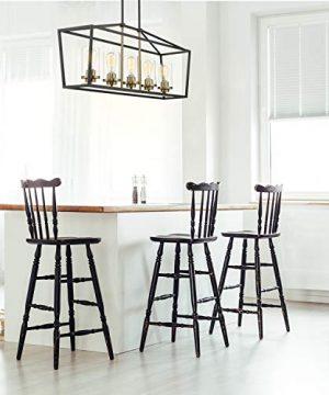 Emliviar Modern 5 Light Kitchen Island Pendant Light Fixture Linear Pendant Lighting Black And Gold Finish With Clear Glass Shade P3033 5LP 0 4 300x360