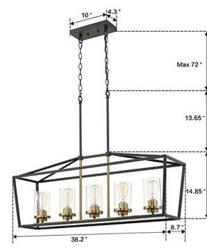 Emliviar Modern 5 Light Kitchen Island Pendant Light Fixture Linear Pendant Lighting Black And Gold Finish With Clear Glass Shade P3033 5LP 0 5 300x360