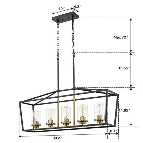 Emliviar Modern 5 Light Kitchen Island Pendant Light Fixture Linear Pendant Lighting Black And Gold Finish With Clear Glass Shade P3033 5LP 0 5