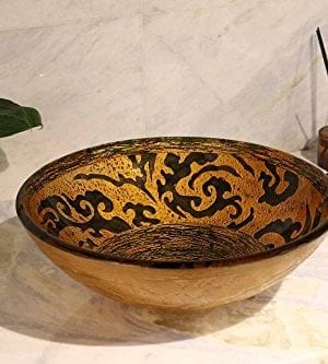 Enbol GS G0440 Retro Copper Brown Color Artistic Tempered Glass Bathroom Over Counter Artistic Vessel Vanity Sink Bowl 165 Inch Standard Round Top Wash Basin 0 0 300x333