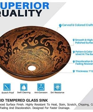 Enbol GS G0440 Retro Copper Brown Color Artistic Tempered Glass Bathroom Over Counter Artistic Vessel Vanity Sink Bowl 165 Inch Standard Round Top Wash Basin 0 1 300x360