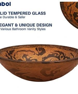 Enbol GS G0440 Retro Copper Brown Color Artistic Tempered Glass Bathroom Over Counter Artistic Vessel Vanity Sink Bowl 165 Inch Standard Round Top Wash Basin 0 2 300x360