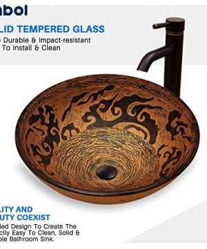 Enbol GS G0440 Retro Copper Brown Color Artistic Tempered Glass Bathroom Over Counter Artistic Vessel Vanity Sink Bowl 165 Inch Standard Round Top Wash Basin 0 4 300x360