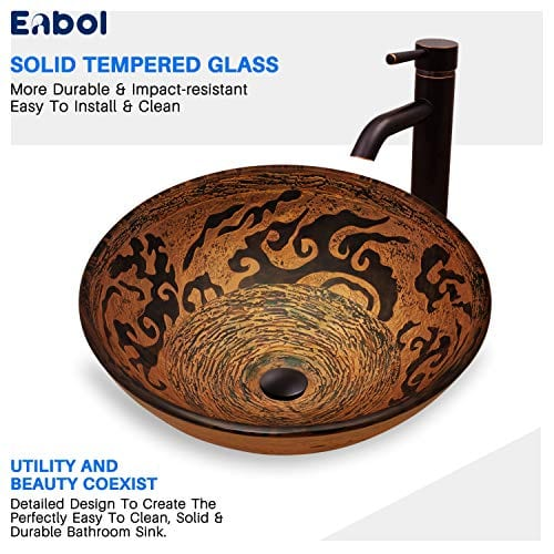 Enbol GS G0440 Retro Copper Brown Color Artistic Tempered Glass Bathroom Over Counter Artistic Vessel Vanity Sink Bowl 165 Inch Standard Round Top Wash Basin 0 4