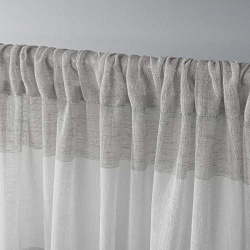 Exclusive Home Bern Stripe Sheer Rod Pocket Curtain Panel Pair Dove Grey 50x96 0 1