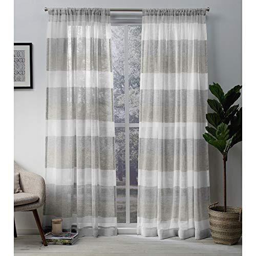 Exclusive Home Bern Stripe Sheer Rod Pocket Curtain Panel Pair Dove Grey 50x96 0