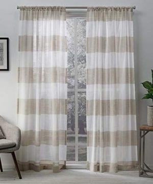 Exclusive Home Darma Sheer Linen Rod Pocket Curtain Panel Pair Linen 50x96 0 300x360