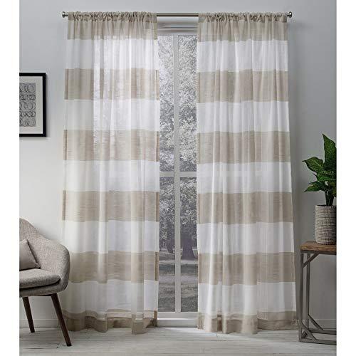 Exclusive Home Darma Sheer Linen Rod Pocket Curtain Panel Pair Linen 50x96 0