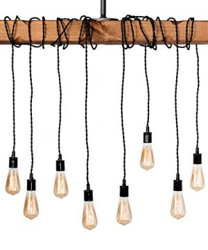 Farmhouse Lighting Wrapped Wood Beam Farmhouse Chandelier Pendant Light Fixture Rustic Lighting Great For Kitchen Island Lighting Dining Room Bar Industrial And Billiard Or Pool Table 0 2 300x360