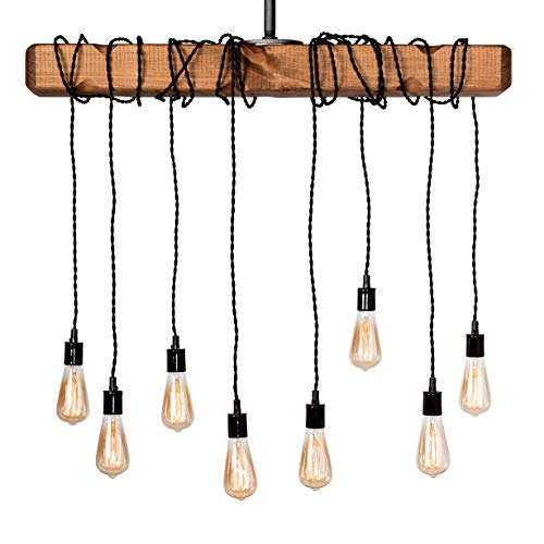 Farmhouse Lighting Wrapped Wood Beam Farmhouse Chandelier Pendant Light Fixture Rustic Lighting Great For Kitchen Island Lighting Dining Room Bar Industrial And Billiard Or Pool Table 0 2
