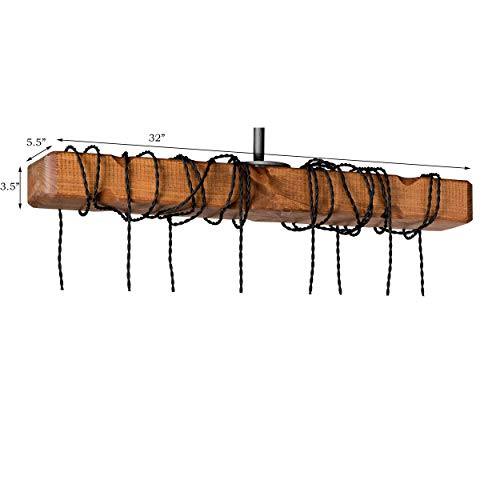 Farmhouse Lighting Wrapped Wood Beam Farmhouse Chandelier Pendant Light Fixture Rustic Lighting Great For Kitchen Island Lighting Dining Room Bar Industrial And Billiard Or Pool Table 0 3