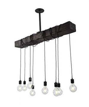 Fayette Wood Beam Chandelier Solid Beam Downlight With 8 Lights Farmhouse Chandelier For Kitchen Dining Room Entryway Adjustable Bulb Height Easy Installation 0 2 300x360