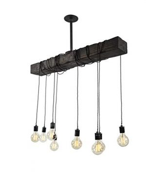 Fayette Wood Beam Chandelier Solid Beam Downlight With 8 Lights Farmhouse Chandelier For Kitchen Dining Room Entryway Adjustable Bulb Height Easy Installation 0 3 300x360