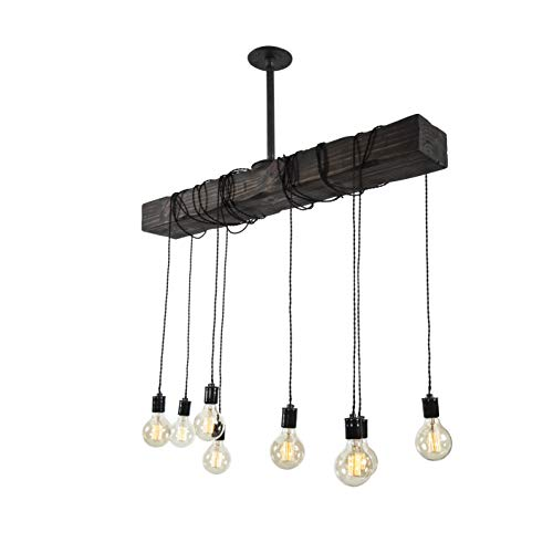 Fayette Wood Beam Chandelier Solid Beam Downlight With 8 Lights Farmhouse Chandelier For Kitchen Dining Room Entryway Adjustable Bulb Height Easy Installation 0 3