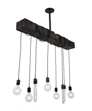 Fayette Wood Beam Chandelier Solid Beam Downlight With 8 Lights Farmhouse Chandelier For Kitchen Dining Room Entryway Adjustable Bulb Height Easy Installation 0 300x360