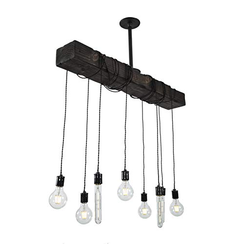 Fayette Wood Beam Chandelier Solid Beam Downlight With 8 Lights Farmhouse Chandelier For Kitchen Dining Room Entryway Adjustable Bulb Height Easy Installation 0