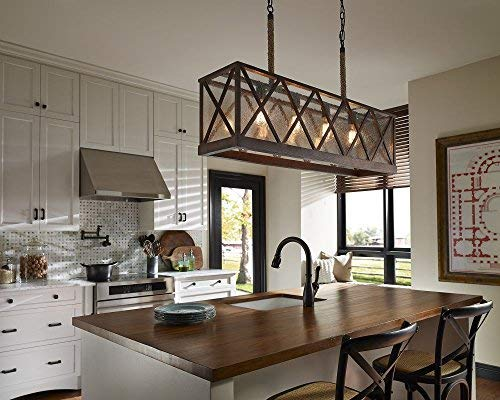 Feiss F29574DWOORB Lumiere Farmhouse Island Chandelier Lighting Bronze 4 Light 43W X 25H 400watts 0 0