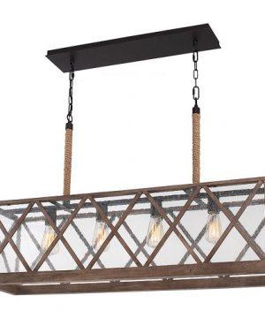 Feiss F29574DWOORB Lumiere Farmhouse Island Chandelier Lighting Bronze 4 Light 43W X 25H 400watts 0 300x360