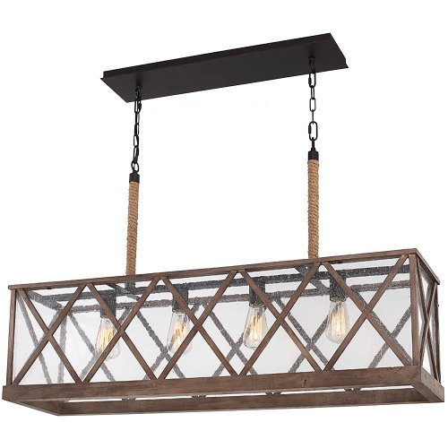 Feiss F29574DWOORB Lumiere Farmhouse Island Chandelier Lighting Bronze 4 Light 43W X 25H 400watts 0