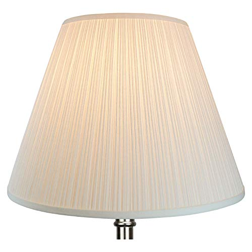 FenchelShadescom Lampshade 9 Top Diameter X 18 Bottom Diameter X 13 Slant Height With Washer Spider Attachment For Lamps With A Harp Pleated Cream 0 1