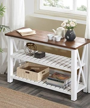Furnichoi Console Table Farmhouse Sofa For Living Room Hallway Entryway With Storage Shelf White And Brown