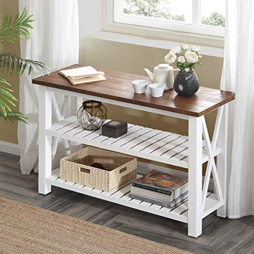 FurniChoi Console Table, Farmhouse Sofa Table for Living Room, Hallway  Entryway Table with Storage Shelf, White and Brown