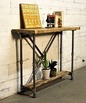 Furniture Pipeline Industrial 2 Tier Pipe Console Sofa Hall Table Metal And Reclaimed Aged Wood Finish Grey Steel Pipes And Brass Fittings With Natural Stained Wood 0 300x360