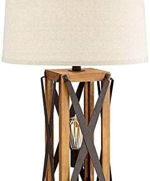 Gaines Farmhouse Table Lamp With Nightlight LED Bronze And Wood Tone Off White Burlap Tapered Drum Shade For Living Room Bedroom Bedside Nightstand Office Franklin Iron Works 0 0 298x360
