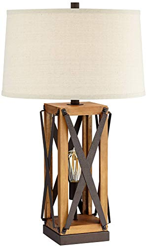 Gaines Farmhouse Table Lamp With Nightlight LED Bronze And Wood Tone Off White Burlap Tapered Drum Shade For Living Room Bedroom Bedside Nightstand Office Franklin Iron Works 0 0
