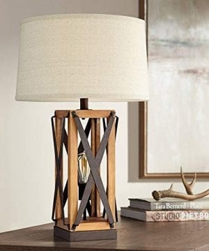 Gaines Farmhouse Table Lamp With Nightlight LED Bronze And Wood Tone Off White Burlap Tapered Drum Shade For Living Room Bedroom Bedside Nightstand Office Franklin Iron Works 0 300x360