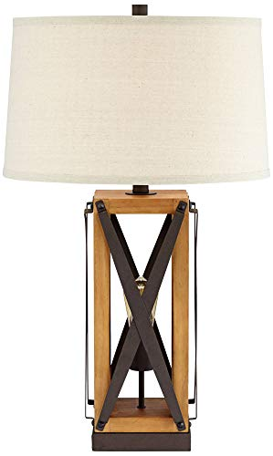 Gaines Farmhouse Table Lamp With Nightlight Led Bronze And Wood Tone Off White Burlap Tapered Drum Shade For Living Room Farmhouse Goals