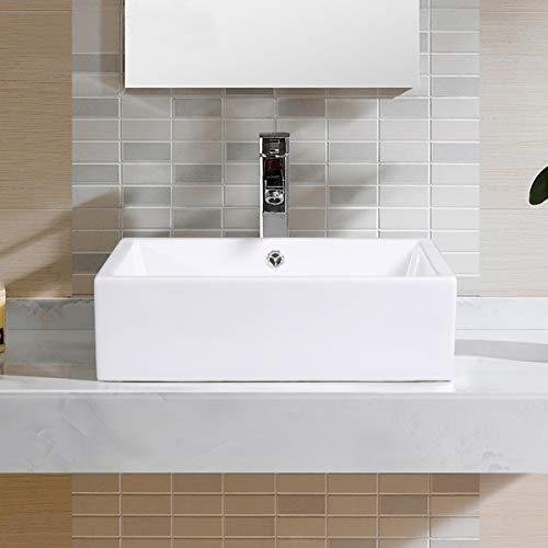 Giantex 20 Inch Bathroom Rectangle Ceramic Vessel Sink Vanity Pop Up Drain Art Basin 0 0