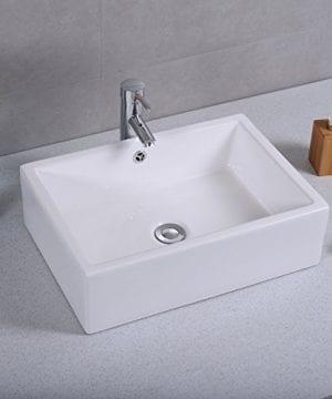 Giantex 20 Inch Bathroom Rectangle Ceramic Vessel Sink Vanity Pop Up Drain Art Basin 0 1 300x360