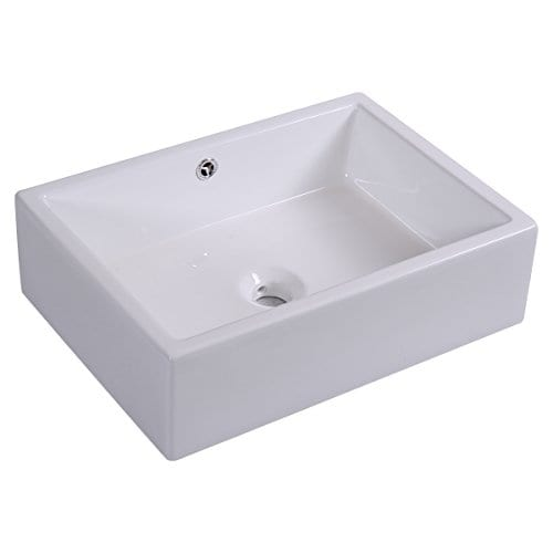 Giantex 20 Inch Bathroom Rectangle Ceramic Vessel Sink Vanity Pop Up Drain Art Basin 0 2