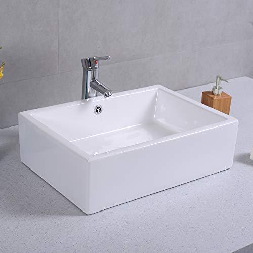 Giantex 20 Inch Bathroom Rectangle Ceramic Vessel Sink Vanity Pop Up Drain Art Basin 0 4