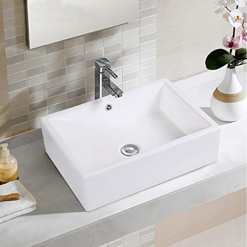 Giantex 20 Inch Bathroom Rectangle Ceramic Vessel Sink Vanity Pop Up Drain Art Basin 0