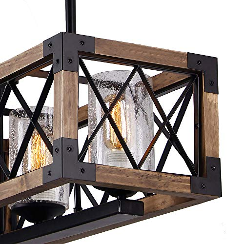 Giluta Kitchen Island Pendant Light Rectangle Wood Metal Chandelier Black Finish Rustic Industrial Chandelier Vintage Ceiling Light Fixture 3 Lights With Seeded Glass Shade 17809 0 3