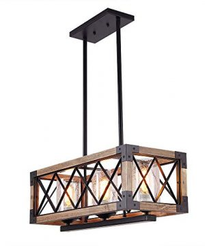 Giluta Kitchen Island Pendant Light Rectangle Wood Metal Chandelier Black Finish Rustic Industrial Chandelier Vintage Ceiling Light Fixture 3 Lights With Seeded Glass Shade 17809 0 300x360