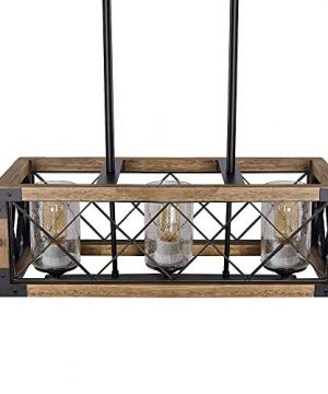 Giluta Kitchen Island Pendant Light Rectangle Wood Metal Chandelier Black Finish Rustic Industrial Chandelier Vintage Ceiling Light Fixture 3 Lights With Seeded Glass Shade 17809 0 4 300x360