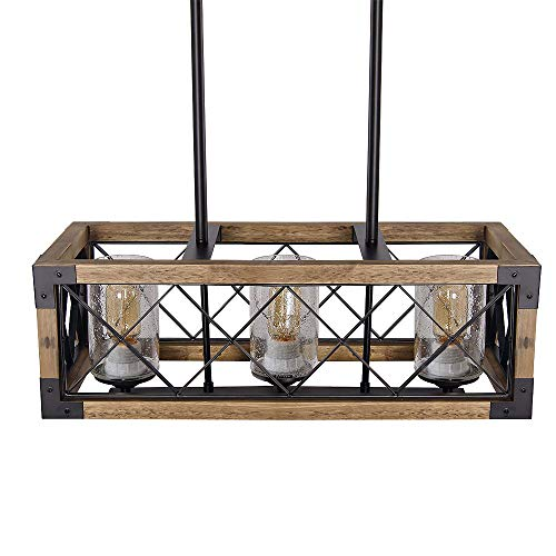 Giluta Kitchen Island Pendant Light Rectangle Wood Metal Chandelier Black Finish Rustic Industrial Chandelier Vintage Ceiling Light Fixture 3 Lights With Seeded Glass Shade 17809 0 4