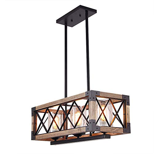 Giluta Kitchen Island Pendant Light Rectangle Wood Metal Chandelier Black Finish Rustic Industrial Chandelier Vintage Ceiling Light Fixture 3 Lights With Seeded Glass Shade 17809 0