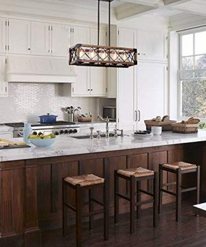 Giluta Rectangle Wood Metal Pendant Light Kitchen Island Chandelier Black Finish Rustic Industrial Chandelier Vintage Ceiling Light Fixture 5 Lights With Seeded Glass Shade 17810 0 0 300x360