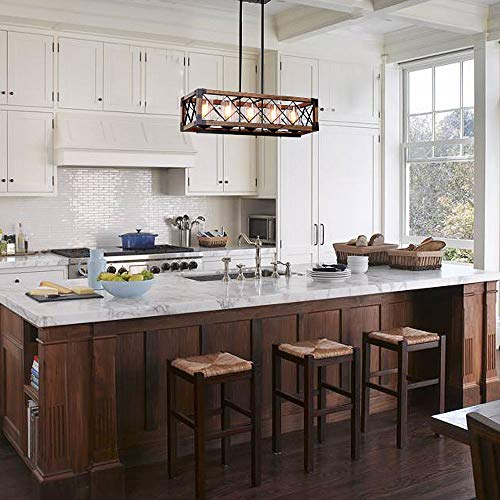 Giluta Rectangle Wood Metal Pendant Light Kitchen Island Chandelier Black Finish Rustic Industrial Chandelier Vintage Ceiling Light Fixture 5 Lights With Seeded Glass Shade 17810 0 0