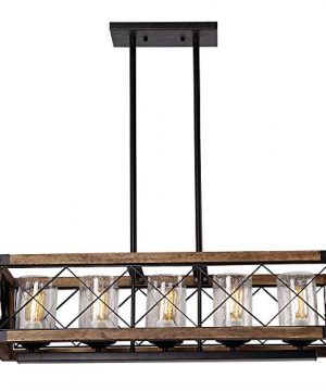 Giluta Rectangle Wood Metal Pendant Light Kitchen Island Chandelier Black Finish Rustic Industrial Chandelier Vintage Ceiling Light Fixture 5 Lights With Seeded Glass Shade 17810 0 1 300x360