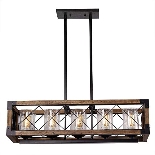 Giluta Rectangle Wood Metal Pendant Light Kitchen Island Chandelier Black Finish Rustic Industrial Chandelier Vintage Ceiling Light Fixture 5 Lights With Seeded Glass Shade 17810 0 1