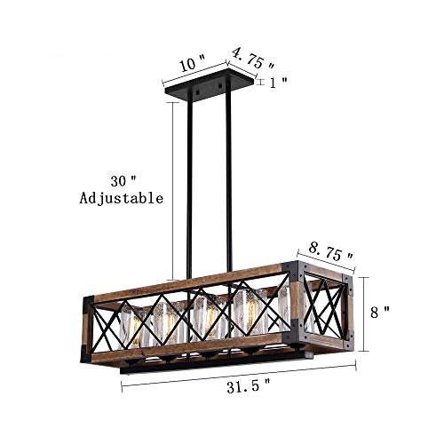Giluta Rectangle Wood Metal Pendant Light Kitchen Island Chandelier Black Finish Rustic Industrial Chandelier Vintage Ceiling Light Fixture 5 Lights With Seeded Glass Shade 17810 0 2